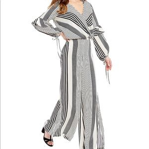 Coordinating Striped Faux Wrap Blouse and pants